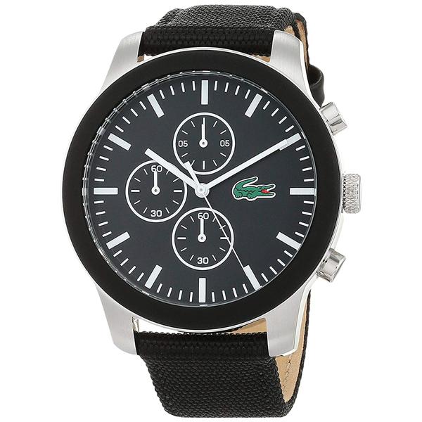 LACOSTE ラコステ メンズ レディース ユニセックス 腕時計 12.12 クロノグラフ ブラック ナイロン レザー 2010950 ビジネス 男性 女性 ブランド プレゼント 誕生日 お祝い プレゼント ギフト お洒落