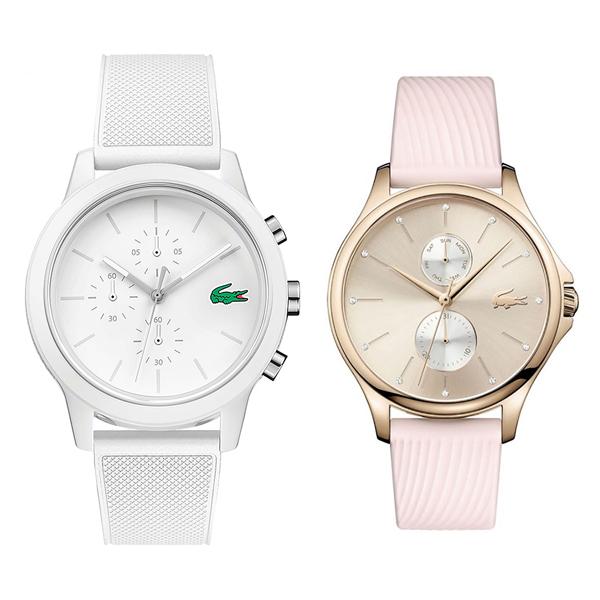 ラコステ 腕時計 ペアウォッチ メンズ レディース ホワイト ライトピンク シリコンラバー 20109742001025 ビジネス 男性 女性 ペアセット カップル ブランド プレゼント 誕生日 お祝い プレゼント ギフト お洒落