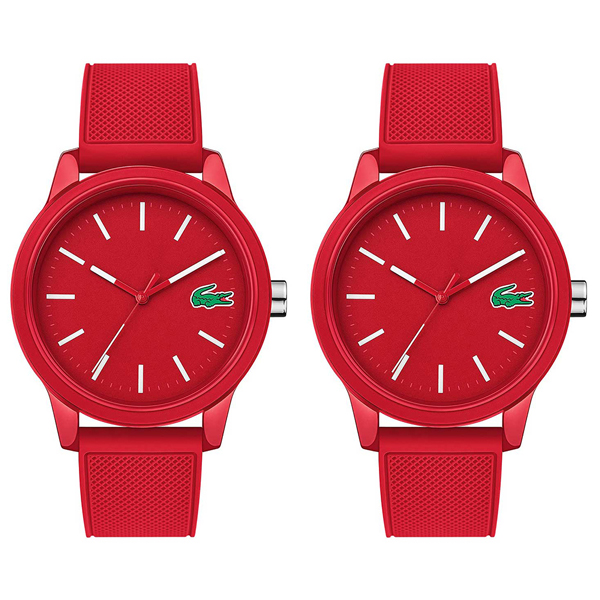 ペアBOX付き ラコステ 腕時計 ペアウォッチ シェア 2本セット メンズ レディース L.12.12 レッド シリコンラバー 20109882010988 ビジネス 男性 女性 ペアセット カップル ブランド プレゼント 誕生日 お祝い プレゼント ギフト お洒落