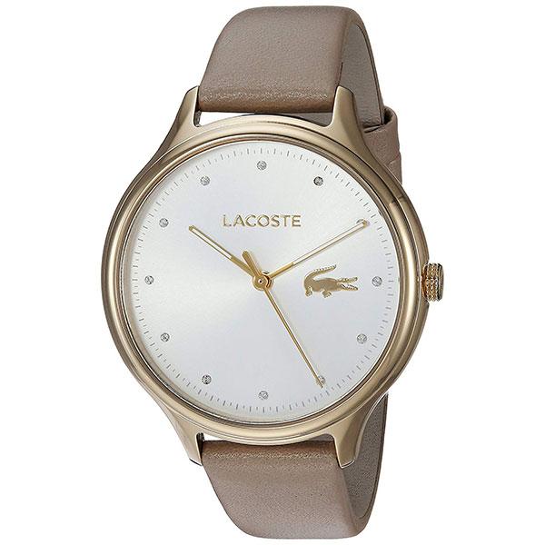 LACOSTE ラコステ レディース 腕時計 Constance ゴールドケース シルバー文字盤 ベージュ レザー クリスタル 2001007 ビジネス 女性 ブランド プレゼント 誕生日 お祝い プレゼント ギフト お洒落