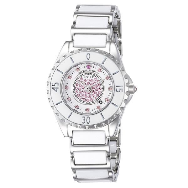 【無料特典付き!】ミッシェルジョルダン スポーツ 白い時計 レディース 腕時計 ホワイト セラミック サファイア パーティー かわいい MJ-7100-L-3 ビジネス 女性 ブランド 時計 誕生日 お祝い プレゼント ギフト お洒落
