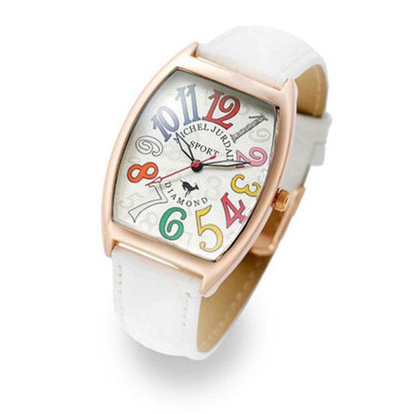 【無料特典付き!】ミッシェルジョルダン スポーツ 時計 メンズ 腕時計 ローズゴールドケース 白 ホワイト レザー ダイヤモンド カラフル トノー型 革 SG-1100-5 ビジネス 男性 ブランド 時計 誕生日 お祝い プレゼント ギフト お洒落