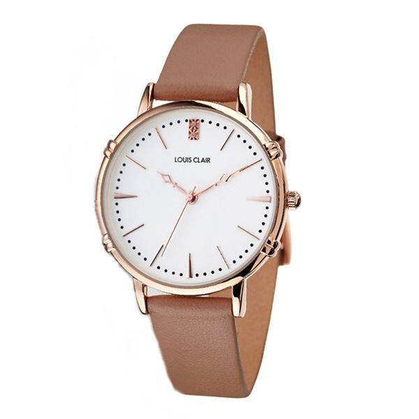 時計収納BOX付 国内正規品 ルイクレール 時計 レディース 腕時計 Rosiers ロジエ ピンクゴールド ベージュ レザー 革 CL02-BE ビジネス 女性 ブランド 誕生日 お祝い プレゼント ギフト お洒落