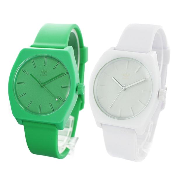 【アクセ収納ケースつき】アディダス 腕時計 ペアウォッチ おそろい時計 同じサイズ メンズ レディース グリーン ホワイト 緑 白 ラバー CJ6362CJ6360 ペアセット カップル ブランド 誕生日 お祝い プレゼント ギフト