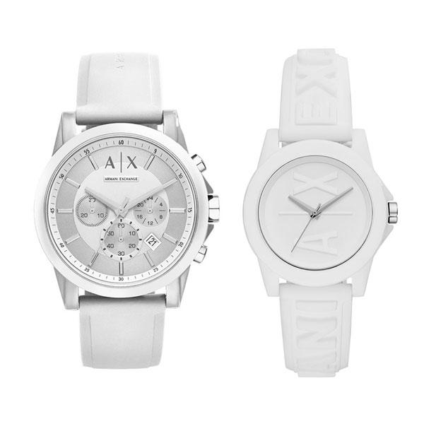 アルマーニエクスチェンジ 腕時計 ペアウォッチ メンズ レディース ユニセックス 男女兼用 ホワイト ラバー シリコン AX1325AX4366 ブランド カップル 男女 ペアセット 時計 誕生日 お祝い プレゼント ギフト