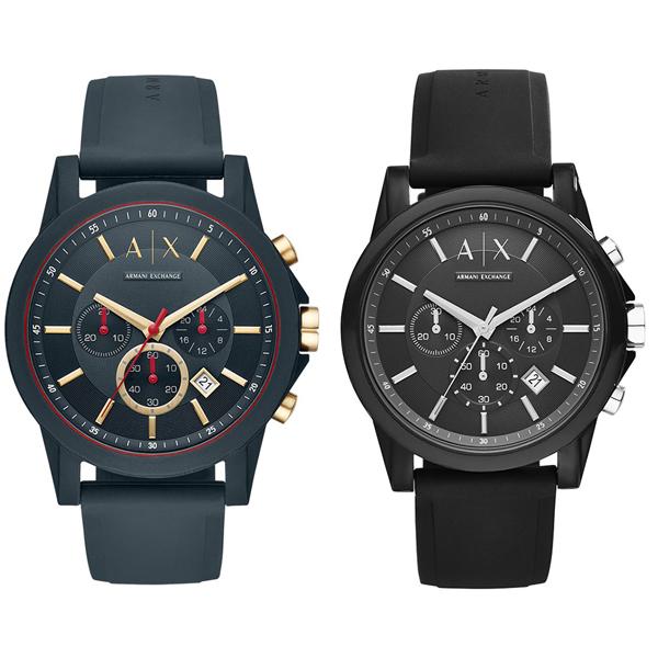 アルマーニエクスチェンジ 時計 ペアウォッチ 2本セット 腕時計 クロノグラフ ダークブルー ブラック ラバー AX1335AX1326 ブランド カップル 男女 ペアセット 時計 誕生日 お祝い プレゼント ギフト