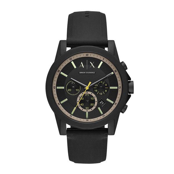 アルマーニエクスチェンジ 時計 メンズ 腕時計 Outer Banks アウターバンクス クロノグラフ ブラック シリコンラバー AX1343 ビジネス 男性 ブランド 時計 誕生日 お祝い プレゼント ギフト