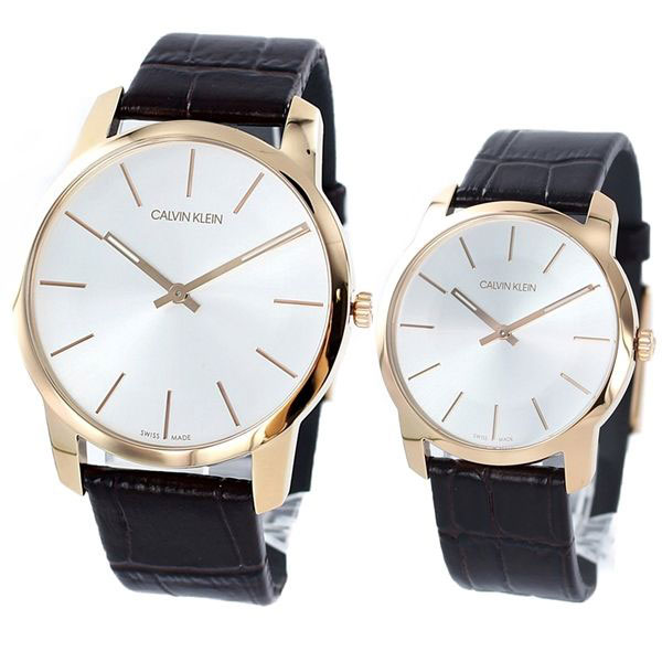 CALVIN KLEIN カルバンクライン CK 時計 メンズ レディース ペアウォッチ スイス製 腕時計 City シティ ローズゴールド ブラウンレザー K2G21629K2G226G6 ビジネス 男女 ペアセット カップル ブランド 時計 誕生日 お祝い プレゼント ギフト