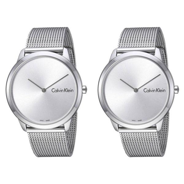 【ペアBOX付き】カルバンクライン CK スイス製 腕時計 ペアウォッチ ユニセックス 男女兼用 同サイズ ミニマル 2針 シルバー メッシュ K3M211Y6K3M211Y6 ビジネス 男女 ペアセット カップル 時計 誕生日 お祝い プレゼント ギフト ブラックフライデー