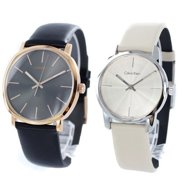 CALVIN KLEIN カルバンクライン CK 時計 メンズ レディース ペアウォッチ スイス製 腕時計 Posh ポッシュ 40mm 30mm ブラック×ベージュ レザー K8Q316C3K2G231XH ビジネス 男女 ペアセット カップル ブランド 時計 誕生日 お祝い プレゼント ギフト