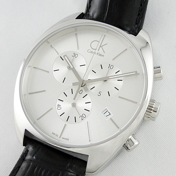 Calvin Klein カルバンクライン 腕時計 メンズ エクスチェンジ クロノ シルバー ブラックレザー 革ベルト K2F27120 ビジネス 男性 ブランド 時計 誕生日 お祝い プレゼント ギフト お洒落