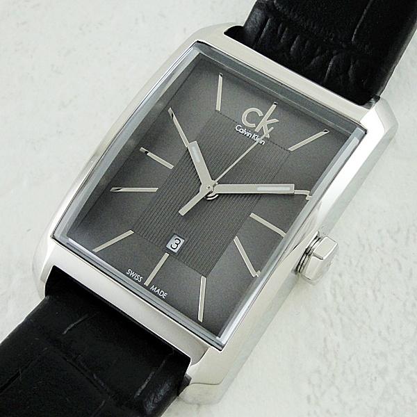 カルバンクライン 時計 レディース 腕時計 ウィンドウ ダークグレー文字盤 ブラックレザー 革ベルト K2M23107 ビジネス 女性 ブランド 誕生日 お祝い プレゼント ギフト