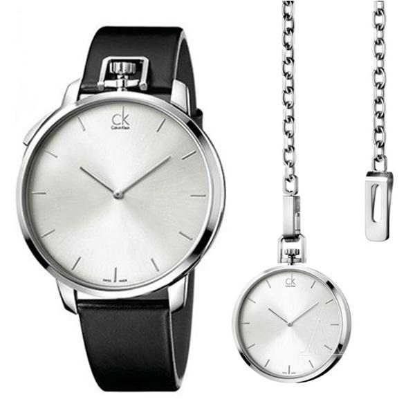無料特典付き! カルバンクライン 時計 メンズ 腕時計 エセプショナル シルバー文字盤 懐中時計 ブラックレザー K3Z211C6 ビジネス 男性 ブランド 時計 誕生日 お祝い プレゼント ギフト お洒落