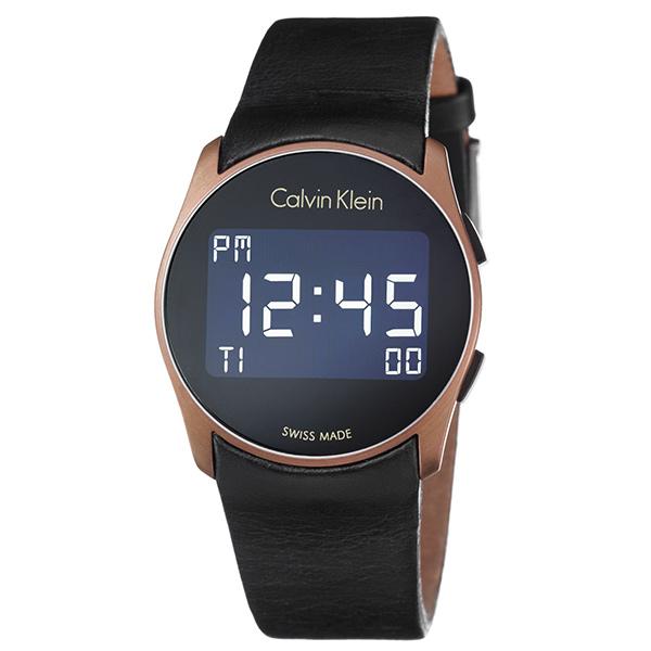 カルバンクライン 時計 メンズ レディース ユニセックス 腕時計 FUTURE フューチャー デジタル 39mm ローズゴールドケース ブラック レザー K5B13YC1 ビジネス 男女 ブランド 時計 誕生日 お祝い プレゼント ギフト お洒落