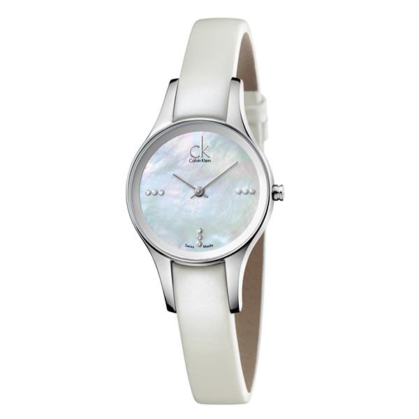 カルバンクライン 時計 レディース 腕時計 SIMPLICITY シンプリシティ 28mm シルバーケース ホワイトシェル文字盤 ホワイト レザー K43231LT ビジネス 女性 ブランド 時計 誕生日 お祝い プレゼント ギフト お洒落