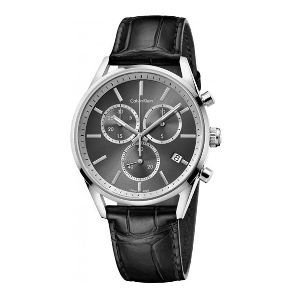 カルバンクライン 時計 メンズ 腕時計 FORMALITY クロノグラフ 43mm ダークグレー文字盤 ブラックレザー K4M271C3 ビジネス 男性 ブランド 時計 誕生日 お祝い クリスマスプレゼント ギフト お洒落