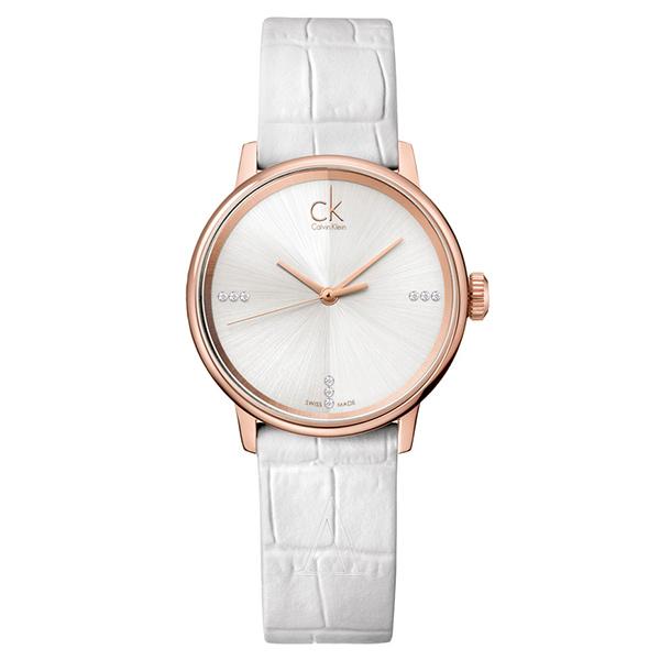 カルバンクライン 時計 レディース 腕時計 ACCENT アクセント ローズゴールドケース ホワイト レザー K2Y2Y6KW ビジネス 女性 ブランド 時計 誕生日 お祝い プレゼント ギフト お洒落