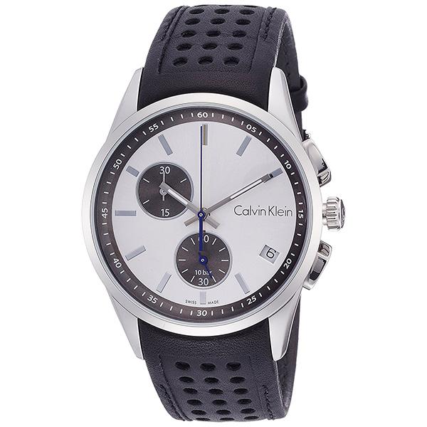 1点限り カルバンクライン 時計 メンズ 腕時計 BOLD ボールド クロノグラフ シルバー文字盤 ブラック レザー K5A371C6 ビジネス 男性 ブランド 時計 誕生日 お祝い プレゼント ギフト