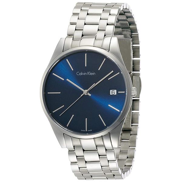 カルバンクライン 時計 メンズ 腕時計 TIME タイム ブルー文字盤 シルバー ステンレス K4N2114N ビジネス 男性 ブランド 時計 誕生日 お祝い プレゼント ギフト お洒落