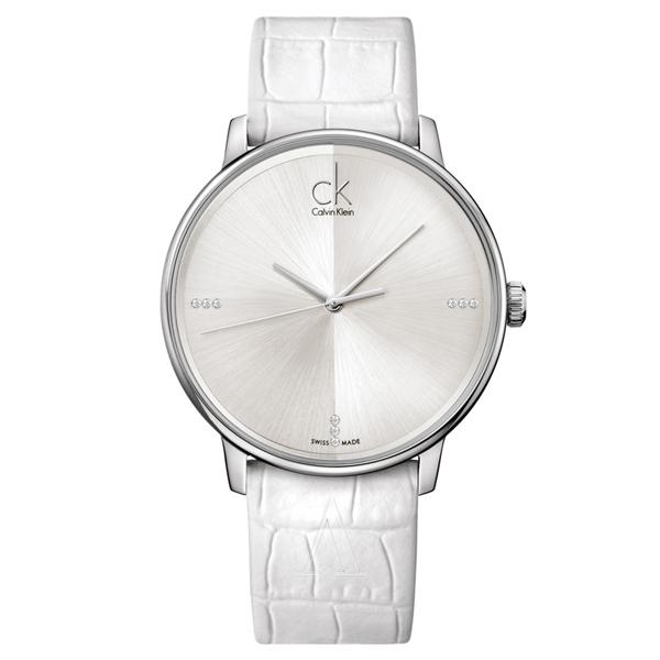 カルバンクライン 時計 メンズ 腕時計 ACCENT アクセント 41mm シルバー文字盤 ホワイト レザー K2Y2X1KW ビジネス 女性 ブランド 時計 誕生日 お祝い プレゼント ギフト お洒落