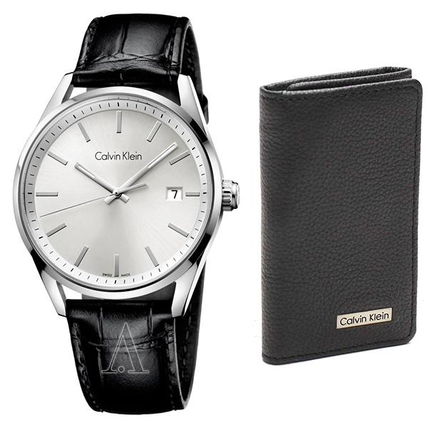 カルバンクライン CK セット商品 腕時計&キーケース メンズ フォーマリティ ブラックレザー 6連キーケース K4M211C6/79216 ビジネス 男性 ブランド 時計 誕生日 お祝い プレゼント ギフト お洒落