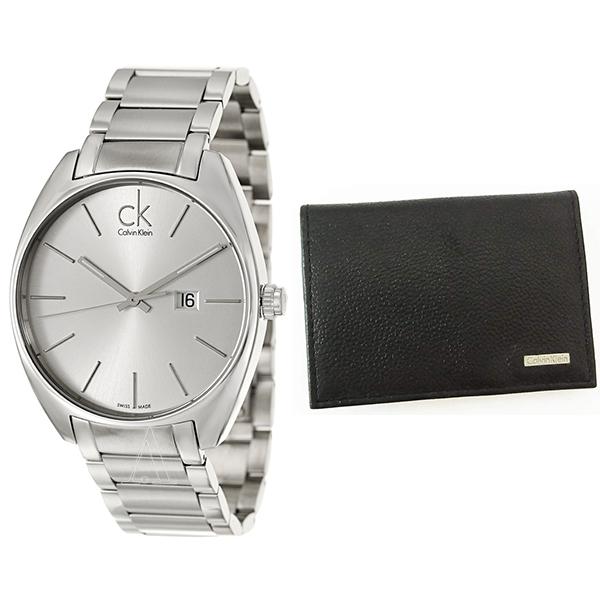 カルバンクライン CK セット商品 腕時計&名刺入れ メンズ エクスチェンジ シルバーステンレス ブラックレザー カードケース K2F21126/79218 ビジネス 男性 ブランド 時計 誕生日 お祝い プレゼント ギフト お洒落