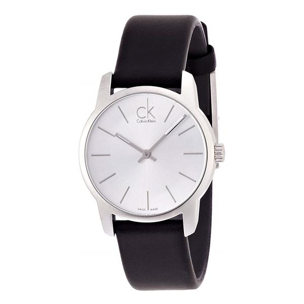 カルバンクライン CK 時計 レディース 腕時計 シティ シルバー ブラックレザー 黒 革 仕事 お祝いに K2G231C6 ビジネス 女性 ブランド 時計 誕生日 お祝い プレゼント ギフト お洒落