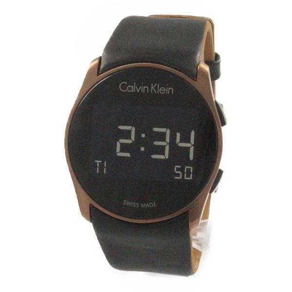 再入荷 カルバンクライン 時計 メンズ レディース ユニセックス 腕時計 FUTURE フューチャー デジタル 39mm ローズゴールドケース ブラック レザー K5B13YC1 ビジネス 男女 ブランド 時計 誕生日 お祝い プレゼント ギフト
