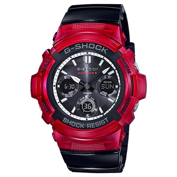 CASIO G-SHOCK Gショック ジーショック カシオ 腕時計 ソーラー アナデジ デジタル&アナログ 多機能 レッド×ブラック 海外モデル AWG-M100SRB-4A ビジネス 男性 ブランド 誕生日 お祝い プレゼント ギフト