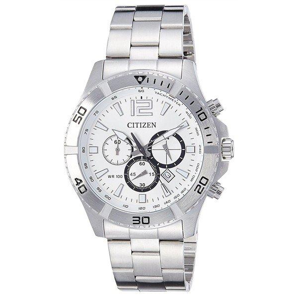 【キャッシュレス5%還元】海外モデル CITIZEN シチズン 時計 メンズ 腕時計 OXY クロノグラフ ホワイト文字盤 シルバー ステンレス 10気圧防水 AN8120-57A ビジネス 男性 ブランド 時計 誕生日 お祝い プレゼント ギフト