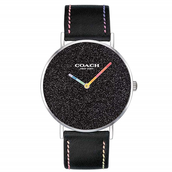 【キャッシュレス5%還元】コーチ 時計 メンズ レディース ボーイズサイズ 腕時計 PERRY ペリー 虹色 ブラック レザー 14503033 ビジネス 男性 女性 ブランド 誕生日 お祝い プレゼント ギフト
