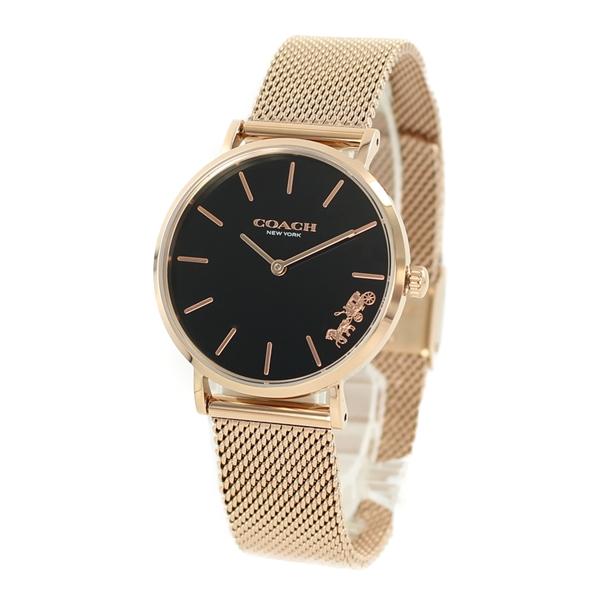COACH コーチ 時計 レディース 腕時計 PERRY ブラック ピンクゴールド こーち 可愛い 小さめ メッシュ 14503426 ビジネス 女性 ブランド 誕生日 お祝い プレゼント ギフト