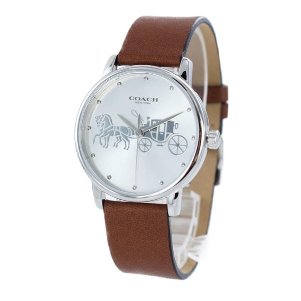 コーチ 時計 レディース ボーイズサイズ 腕時計 Grand グランド シルバー ブラウン レザー 革 シンプル 14503495 ビジネス 女性 ブランド 誕生日 お祝い プレゼント ギフト