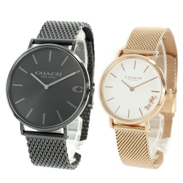 ペア価格 2本セット COACH コーチ 腕時計 ペアウォッチ メンズ レディース ブラック ピンクゴールド 1460214814503425 ブランド カップル 男女 ペアセット 誕生日 お祝い プレゼント ギフト