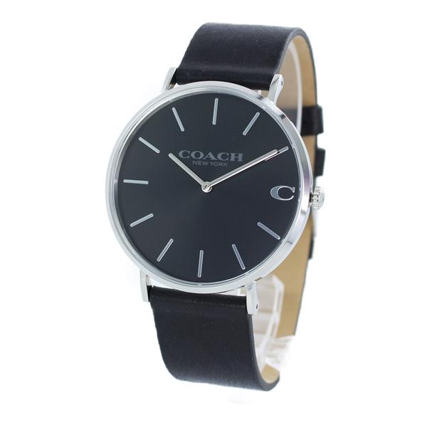 再入荷 コーチ 時計 メンズ 腕時計 CHARLES チャールズ シルバーケース ブラック レザー 14602149 ビジネス 男性 ブランド 誕生日 お祝い プレゼント ギフト