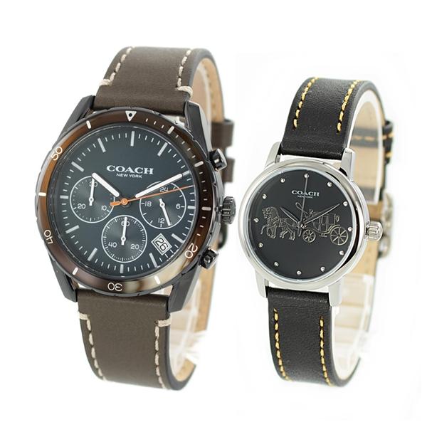 【腕時計収納BOX付き】COACH コーチ 腕時計 おしゃれ ペアウォッチ シンプル 大人色 シックカラー オリーブ ブラック レザーベルト 1460240814502979 ブランド カップル 男女 ペアセット 誕生日 お祝い プレゼント ギフト
