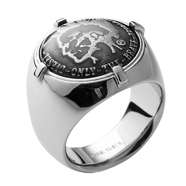DIESEL シルバー プレゼント ディーゼル 贈り物 アクセ メンズ 19号 16号 ブランド シルバー×ブラック アクセサリー 選べる2サイズ 指輪 男性 リング 父親
