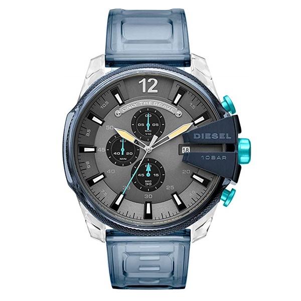 DIESEL ディーゼル 時計 メンズ 男性 腕時計 メガチーフ クロノグラフ 51mm クリアブルー クリアベルト DZ4487 ビジネス 男性 ブランド 誕生日 お祝い プレゼント ギフト