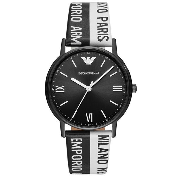 エンポリオアルマーニ ARMANI 腕時計 メンズ 男性用 KAPPA モノクロ 白黒 2トーン ロゴ ファッションウォッチ AR11254 ビジネス 男性 ブランド 時計 誕生日 お祝い プレゼント ギフト
