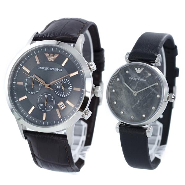 エンポリオアルマーニ 時計 メンズ レディース ペアウォッチ 腕時計 レナート/ジアンニティーバー ダークブラウン ブラック レザー AR2513AR11171 ブランド カップル 男女 ペアセット 誕生日 お祝い プレゼント ギフト