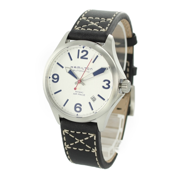 【キャッシュレス5%還元】ハミルトン 時計 メンズ 腕時計 Khaki Aviation カーキ アビエーション エアレース 自動巻き 38ミリ シルバー×ブルー ブラック レザー 革 H76225751 ビジネス 男性 ブランド 誕生日 お祝い プレゼント ギフト