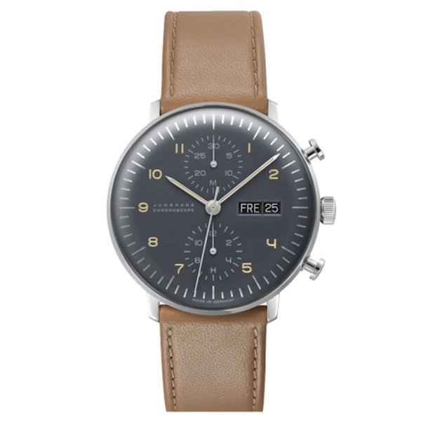 国内正規品 ユンハンス 時計 メンズ 腕時計 マックスビル クロノスコープ グレー文字盤 デイデイトカレンダー ブラウンベージュレザー 027/4501.00 ビジネス 男性 ブランド 時計 誕生日 お祝い プレゼント ギフト お洒落