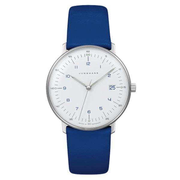 Junghans ユンハンス 時計 レディース 腕時計 MAX BILL LADIES マックスビル クオーツ ホワイト文字盤 ブルーレザー 047/4540.00 ビジネス 男性 ブランド 時計 誕生日 お祝い プレゼント ギフト お洒落