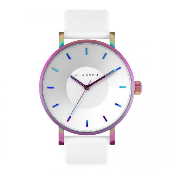 【キャッシュレス5%還元】KLASSE14 クラス14 時計 メンズ レディース 腕時計 Volare レインボー ホワイト最高級レザー 42mm VO15TI003M ビジネス 男性 女性 ユニセックス ブランド 誕生日 お祝い プレゼント ギフト