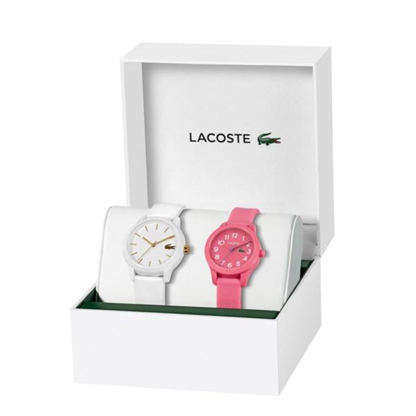 BOX訳あり ラコステ 腕時計 ペアウォッチ ホワイト ピンク ラバー 2070004 親子で使えるペアセット 家族 姉妹にもおすすめ お母さん 父 母 ママ カップル ブランド 娘の誕生日プレゼント お祝い