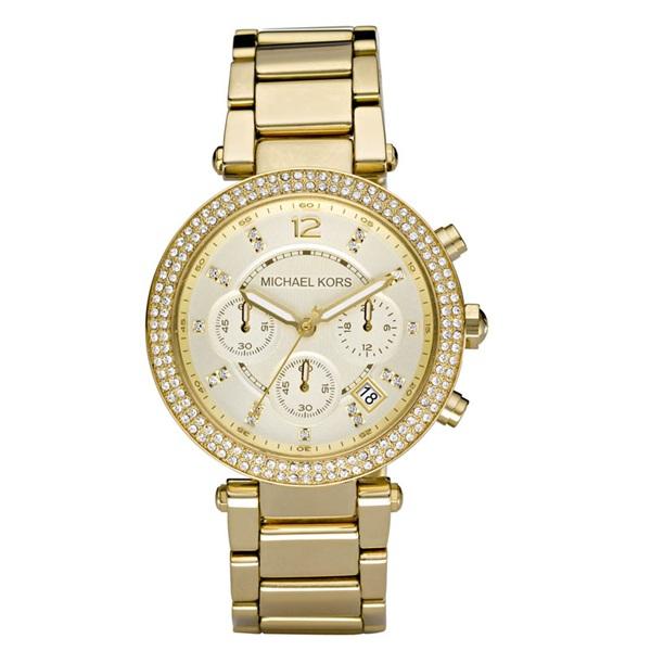 マイケルコース 時計 レディース パーカー クロノグラフ ラインストーン シャンパンゴールド MK5354 ビジネス 女性 ブランド 誕生日 お祝い プレゼント ギフト お洒落