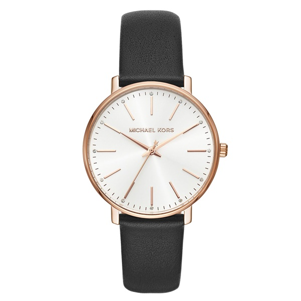 マイケルコース 時計 メンズ レディース 腕時計 ユニセックス PYPER ブラックレザー 黒 革ベルト シンプル 仕事 ペアもおすすめ MK2834 ビジネス 男女 ユニセックス ブランド 誕生日 お祝い プレゼント ギフト