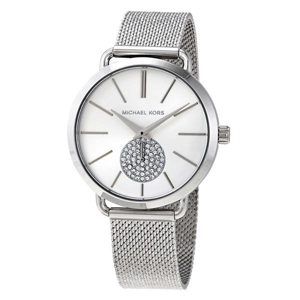MICHAEL KORS マイケルコース 時計 レディース 腕時計 Portia シルバー クリスタル おしゃれ メッシュベルト 女性用 とけい MK3843 ビジネス 女性 ブランド 誕生日 お祝い プレゼント ギフト
