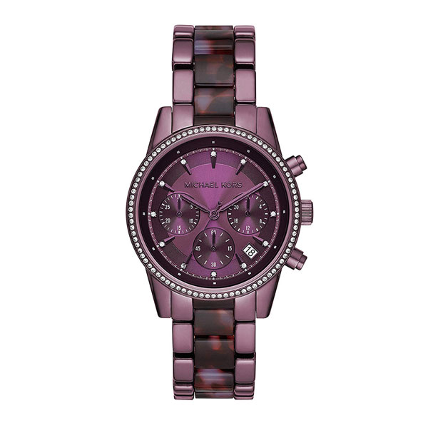 マイケルコース 時計 レディース 腕時計 Ritz クロノグラフ 37ミリ パープル ステンレス クリスタル MK6720 ビジネス 女性 ブランド 誕生日 お祝い プレゼント ギフト