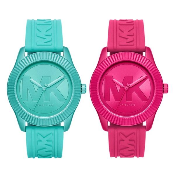 MICHAEL KORS マイケルコース 腕時計 ペアウォッチ 同じサイズ メンズ レディース ビッグ MKロゴ シリコン おそろ ペアグッツ ペアアクセ MK6804MK6803 ブランド カップル 男女 ペアセット 誕生日 お祝い プレゼント ギフト